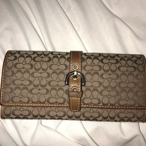 Coach Signature Brown Canvas Leather Wallet